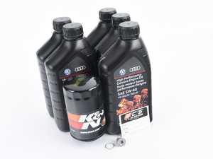ES#3146989 - N90813202KT6 - Oil Service Kit - Includes Genuine oil, K&N performance filter, and OEM drain plug - Assembled By ECS - Audi Volkswagen