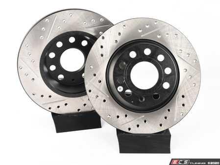 ES#3536936 - 025997ECS0369KT - ECS Rear Big Brake Kit - Cross Drilled & Slotted - 282mm ECS V4 Rotors, Caliper Carriers, and Dust Shields - Assembled By ECS - Volkswagen