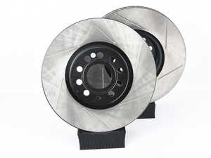 ES#3536731 - 025997ECS0244KT - Front Big Brake Kit - ECS Slotted V4 Rotors (312x25) - Upgrade from 288mm to 312mm rotors from the Jetta GLI. Reuses factory calipers, pads, and hardware! - ECS - Volkswagen