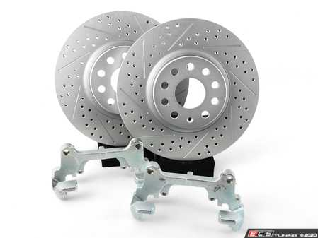 ES#2966772 - 3C0615125AKT - Front Brake Kit - Stage 1 - Cross Drilled & Slotted Rotors (312x25) - Upgrade your stopping power with larger diameter ECS GEOMET rotors - Assembled By ECS - Audi