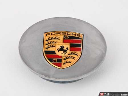 """ES#4135300 - 99636130312sd - High Gloss Polished Center Cap With Porsche Crest - Priced Each - *Scratch And Dent* - *Please see description prior to ordering* OEM cap for polished 18"""" Carrera wheels - 4 required - Genuine Porsche - Porsche"""