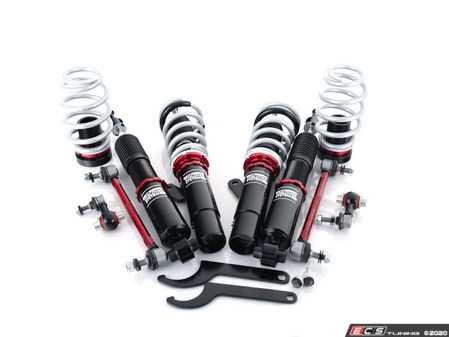 ES#4340344 - 003929LB01 -  MK7/MK8/8v Adjustable Damping Coilover System - Features 32 way adjustable damping, variable length, zinc-coated shock bodies and performance sway bar end links - ECS - Audi Volkswagen