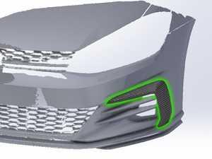 ES#3575993 - 026093ECS01 -  MK7.5 GTI Carbon Fiber Front Bumper Grille Flare Set - Hand-laid carbon fiber to upgrade your exterior styling - ECS - Volkswagen