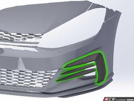 ES#4140386 - 026093ecs01KT -  MK7.5 GTI Carbon Fiber Foglight Trim & Bumper Flare Set - Make a bold statement with our Carbon Fiber Foglight Trim & Bumper Flare Package! - ECS - Volkswagen