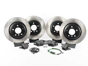 ES#3536807 - 34356751311KT5 - Performance Front And Rear Brake Service Kit - Featuring ECS V4 blank rotors and Hawk HPS pads - Assembled By ECS - BMW