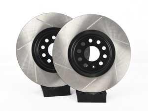 ES#4043219 - EMD-34030-PR-CHC -  Front High Carbon Slotted Brake Rotors - Pair (340x30) - High carbon metallurgy for improved performance, heat management and reduced noise - Emmanuele Design - Audi Volkswagen