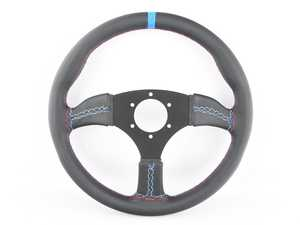 ES#3603862 - 130RMLCb - 130R Motorsport Competition Series Steering Wheel - Genuine Leather w/ Blue Centerline & Tricolor Stitching - Upgrade your interior styling with a universal, performance styled steering wheel from Renown! Features a 350mm diameter and 50mm depth. - Renown - Audi BMW Volkswagen Mercedes Benz MINI Porsche
