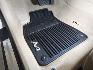 ES#441564 - 8E1061450041 - All Weather Rubber Floor Mat Set - Black - Featuring the 'A4' logo, includes front and rear mats - Genuine Volkswagen Audi - Audi