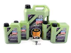 ES#3470578 - E53N62IN1mgKT - Liqui Moly MolyGen Oil Change Kit / Inspection I - Includes nine quarts of Liqui Moly MolyGen 5w-40 Full-synthetic engine oil, Hengst oil filter and new drain plug - Assembled By ECS - BMW