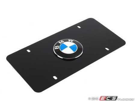 "ES#196145 - 82121470313 - ""BMW"" Vanity Plate - Black - Black plate with BMW roundel emblem - Genuine BMW - BMW"