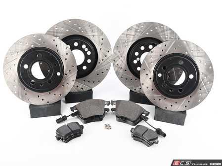 ES#3537628 - 025997ECS0562KT - Performance Front & Rear Brake Service Kit - Featuring ECS V4 Drilled & Slotted rotors and Hawk HPS pads - Assembled By ECS - Audi