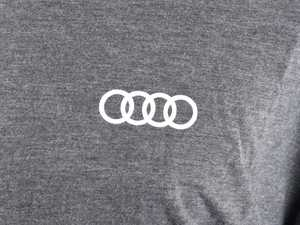 ES#3133457 - ACM3001CHA2X - Quattro T-Shirt - Charcoal - XXL - Sometimes less is more. Make yourself known with the quattro T-Shirt. 100% combed and ringspun cotton. - Genuine Volkswagen Audi - Audi BMW Volkswagen Mercedes Benz MINI Porsche
