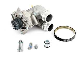 ES#3663665 - 06h121026ddktKT4 - Upgraded Aluminum Water Pump Kit - Includes a new water pump, belt, aluminum thermostat/housing, temperature sensor, aluminum union piece & hardware. - Assembled By ECS - Audi Volkswagen