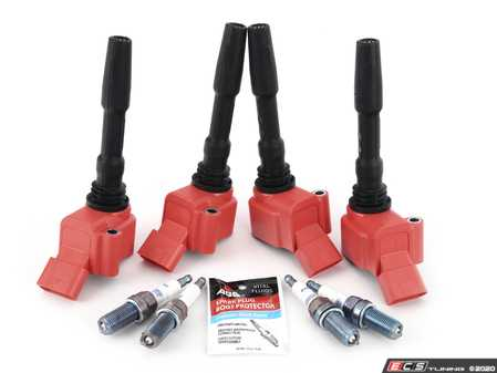ES#4158733 - 06H905110LKT5 -  RS Red Top Ignition Service Kit  - Add 8V RS3/B9 S4 spark with these red top coil packs and Brisk Silver Racing ER12s plugs, ensuring a stronger and more consistent spark! - Assembled By ECS - Audi Volkswagen