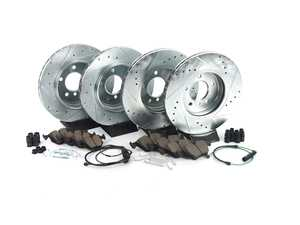 ES#3477760 - K5728-26 - Z26 Street Warrior Brake Kit - Front and Rear - Includes performance drilled and slotted rotors and Power Stop's Extreme Carbon-Fiber Ceramic pads. - Power Stop - BMW