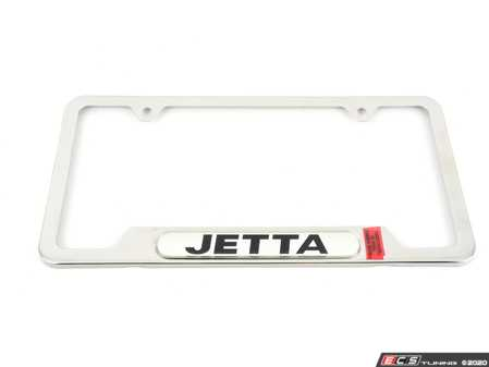 ES#7269 - zvw355011 - Jetta License Plate Frame - Polished - Stainless steel plate frame featuring the Jetta script - Genuine Volkswagen Audi - Volkswagen