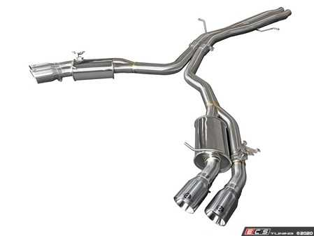 """ES#4213476 - 49-36427-P - MACH Force-Xp 3"""" To 2-1/2"""" 304 Stainless Steel Axle-Back Exhaust System - Mach Force stainless steel exhaust with quad 3.5"""" polished tips - AFE - Audi"""