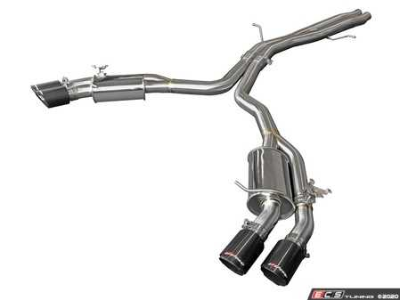 """ES#4213477 - 49-36427-C - MACH Force-Xp 3"""" To 2-1/2"""" 304 Stainless Steel Axle-Back Exhaust System - Mach Force stainless steel exhaust with quad 3.5"""" carbon fiber tips - AFE - Audi"""