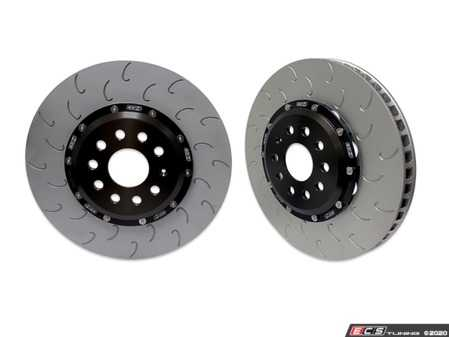 ES#4220119 - 034-301-1001 - 2-Piece Floating Front Brake Rotor Upgrade Kit - Direct replacement rotors that reduce rotational mass and feature J-Slots for less noise but same benefits as conventional slots - 034Motorsport - Audi Volkswagen