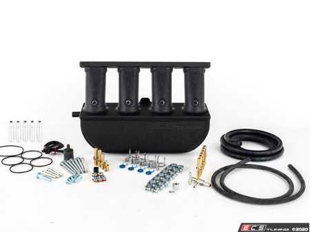 ES#4164590 - 021389ECS01-02KT - ECS Tuning Aluminum Intake Manifold - With Accessory Kit (2.0T FSI) - Wrinkle Black Powdercoat Finish  - Features +53% increase in plenum volume, +8% CFM airflow, 5-axis billet intake runners, CNC-machined flanges and meth/N2O ports. Engineered, tested and fabricated in the U.S.A. - ECS - Audi Volkswagen
