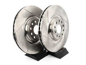 ES#4043218 - EMD-34030-PR - Front Slotted Brake Rotors - Pair (340x30) - Upgrade your looks and performance with a set of slotted rotors! - Emmanuele Design - Audi Volkswagen
