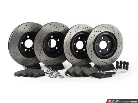 ES#3224203 - 936.33048 - Street Performance Axle Pack Service Kit - Drilled- Front & Rear - Featuring Stoptech Drilled rotors and Stoptech Street pads - StopTech - Audi