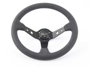 ES#3603841 - 100DS - 100 Dark Series Steering Wheel - Alcantara Suede Leather - Upgrade your interior styling with a universal, performance styled steering wheel from Renown! Features a 350mm diameter and 100mm Depth. - Renown - Audi BMW Volkswagen Mercedes Benz MINI Porsche