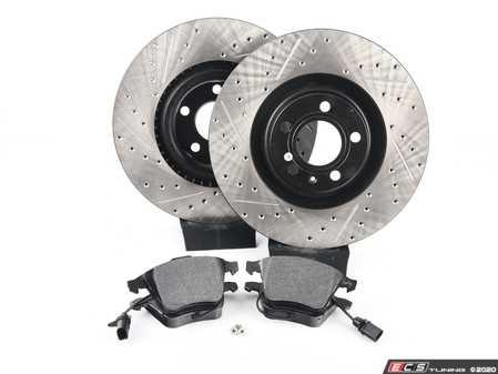ES#3537598 - 025997ECS0538KT - Performance Front Brake Service Kit - Featuring ECS V4 Drilled & Slotted rotors and Hawk HPS pads - Assembled By ECS - Audi