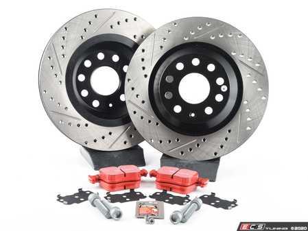 ES#3536981 - 025997ECS0382KT - Rear Brake Service Kit (310x22) - Featuring ECS V4 cross-drilled & slotted rotors and EBC RedStuff pads - Assembled By ECS - Volkswagen