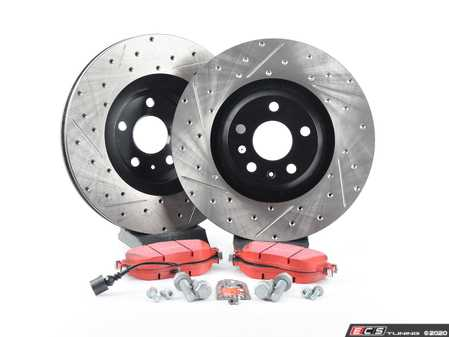 ES#3537686 - 025997ECS0585KT -  Front Brake Service Kit (340x30) - Featuring ECS V4 drilled and slotted rotors and EBC Redstuff pads - Assembled By ECS - Volkswagen