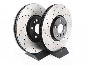 ES#4365068 - 34106881045XDKT - Performance Front & Rear Brake Service Kit - JCW - Featuring ECS V4 Drilled rotors and EBC Red pads - Assembled By ECS - MINI