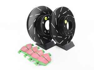 ES#2963274 - S2KF1133 - Front EBC Stage 2 Sport Brake Kit - Slotted  - EBC Stage 2 Brake Kits include EBC GreenStuff 2000 Series brake pads that are specifically designed for light SUVs and cars combined with EBC Slotted Brake Rotors. These pads can improve brake effect by up to 15%. - EBC - BMW