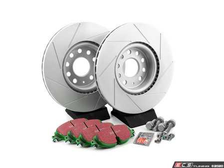 ES#2849000 - dp22150fKT - Front Brake Service Kit (312x25) - Featuring ECS GEOMET slotted rotors and EBC greenstuff pads - Assembled By ECS - Volkswagen