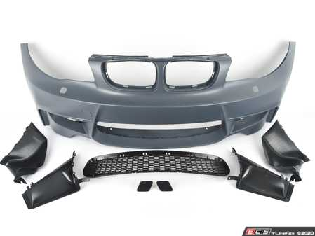 ES#3524467 - 022018ecs01 - BMW E82 1M Style Front Bumper With Airduct - Complete direct bolt on front bumper designed to fit with stock fenders and hood. This version has airducts instead of foglights. - ECS - BMW