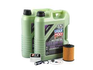 ES#3470582 - N62INS1mgKT - Liqui Moly Molygen Oil Change Kit - Includes Nine quarts of Liqui Moly MolyGen 5w-30 synthetic engine oil, oil filter and new drain plug - Assembled By ECS - BMW