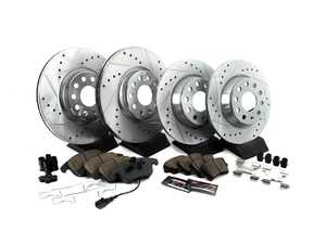 ES#3990297 - K7339 - Z23 Evolution Sport Performance Brake Kit - Front & Rear - Featuring cross-drilled and slotted rotors and very low dust performance pads - Power Stop - Audi Volkswagen