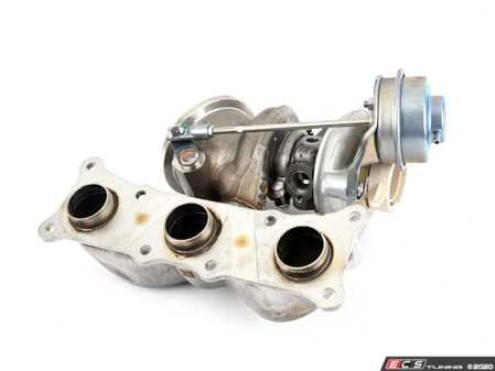 ES#4044958 - 11657649296 - Turbocharger With Manifold - Front Position - Replacement factory turbocharger for cylinders 1-3. No core charge! - Mitsubishi Turbocharger - BMW