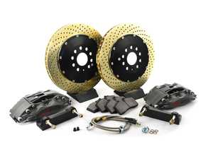ES#3125349 - 83.896.4700.R4 - StopTech Trophy Front Big Brake Kit (355x32) - Featuring STR 4 piston calipers, 2-Piece Drilled & Zinc Coated Rotors, stainless brake lines, and Street performance brake pads - StopTech - Audi