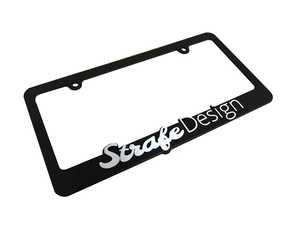 ES#4339812 - PLATEFRAME - Strafe Design License Plate Frame - Priced Each - Features the Strafe Design logo raised in white - Strafe Design - Audi BMW Volkswagen