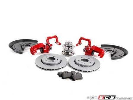 ES#3938 - 33720AERBKPRV2 - 337/20th/GLI Rear Big Brake Kit - Plain Rotors (256x22) - Red - Includes rotors, hubs, bearings, splash shields, hardware, carriers & calipers - Assembled By ECS - Volkswagen