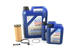 ES#3418639 - 2331kt2 -  Oil Service Kit - Premium  - Includes Hengst oil filter, drain plug/washer, and 7 liters of Liqui Moly Leichtlauf High Tech Engine Oil (5w-40) oil - Assembled By ECS - Audi