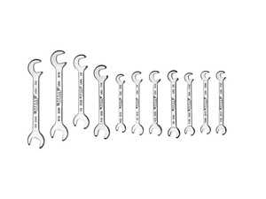 ES#4351907 - AW100 - Standard Miniature Angle Wrench Set - 11 Pc - Open end wrenches with 15 and 80 degree offsets - VIM Tools - Audi BMW Volkswagen Mercedes Benz MINI Porsche
