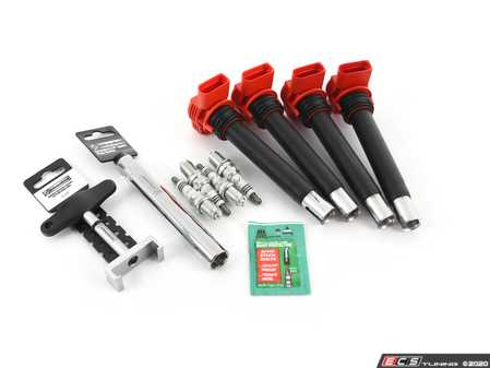 ES#4349867 - 06e905115fKT7 -  Ignition Service Kit - With Service Tools - Includes four Bosch red coil packs and four NGK iridium spark plugs (BKR8EIX - One heat range colder) - Assembled By ECS - Audi Volkswagen