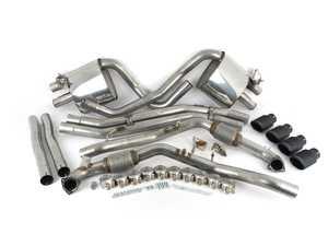 "ES#3499454 - SSXAU715 - Cat-Back Exhaust System - Non-Resonated With Valves - 2.50"" stainless steel with quad Cerakote black velvet oval tips - Milltek Sport - Audi"