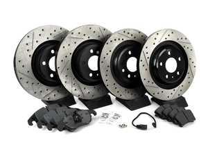 ES#3537752 - 025997ECS0621KT - Performance Front & Rear Brake Service Kit - Featuring ECS V4 Drilled & Slotted rotors and Hawk HPS pads - Assembled By ECS - Audi