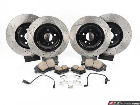 ES#4030883 - 025997ECS0622KT1 - Performance Front & Rear Brake Service Kit - Featuring ECS V4 Drilled & Slotted rotors and Akebono ceramic pads - Assembled By ECS - Audi
