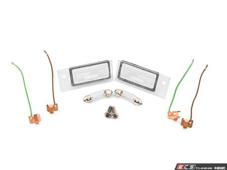 ES#2702943 - 4B5943022KT - License Plate Light Kit - Includes the left & right light assemblies with bulbs - Assembled By ECS - Audi