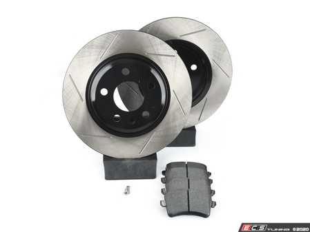 ES#3538293 - 025997ECS0634KT - Performance Rear Brake Service Kit - Featuring ECS V4 Slotted rotors and Hawk HPS pads - Assembled By ECS - Audi