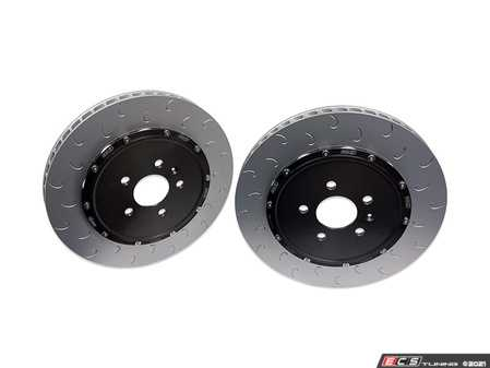 ES#4362076 - 034-301-1005 - 2-Piece Floating Front Brake Rotor Upgrade Kit (365x34) - Direct replacement rotors that reduce rotational mass and feature J-Slots for less noise but same benefits as conventional slots - 034Motorsport - Audi