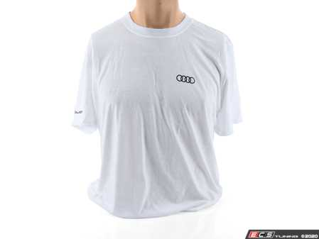 ES#3133463 - ACM3001WHTLG - Quattro T-Shirt - White - Large - Sometimes less is more. Make yourself known with the quattro T-Shirt. 100% combed and ringspun cotton. - Genuine Volkswagen Audi - Audi BMW Volkswagen Mercedes Benz MINI Porsche